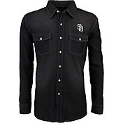 Antigua Men's San Diego Padres Chambray Button-Up Black Long Sleeve Shirt