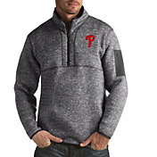 Antigua Men's Philadelphia Phillies Grey Fortune Half-Zip Pullover