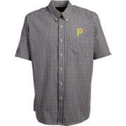 Antigua Men's Pittsburgh Pirates Scholar Plaid Button-Up Shirt