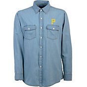 Antigua Men's Pittsburgh Pirates Chambray Button-Up Long Sleeve Shirt