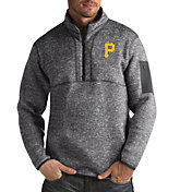 Antigua Men's Pittsburgh Pirates Grey Fortune Half-Zip Pullover