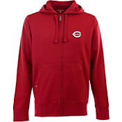 Antigua Men's Cincinnati Reds Dark Red Full-Zip Fleece Hoodie