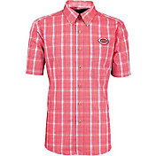 Antigua Men's Cincinnati Reds Alumni Red Plaid Button-Up Shirt