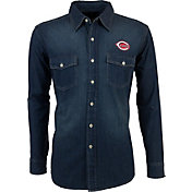 Antigua Men's Cincinnati Reds Chambray Button-Up Long Sleeve Shirt
