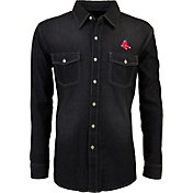 Antigua Men's Boston Red Sox Chambray Button-Up Black Long Sleeve Shirt