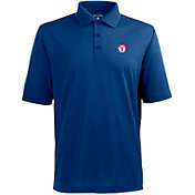 Antigua Men's Texas Rangers Royal Xtra-Lite Pique Performance Polo