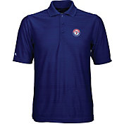 Antigua Men's Texas Rangers Illusion Royal Striped Performance Polo