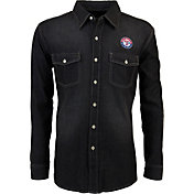 Antigua Men's Texas Rangers Chambray Button-Up Black Long Sleeve Shirt