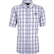 Antigua Men's Tampa Bay Rays Alumni Navy Plaid Button-Up Shirt
