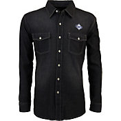 Antigua Men's Tampa Bay Rays Chambray Button-Up Black Long Sleeve Shirt