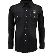 Antigua Men's Oakland Athletics Chambray Button-Up Black Long Sleeve Shirt