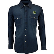 Antigua Men's Oakland Athletics Chambray Button-Up Long Sleeve Shirt