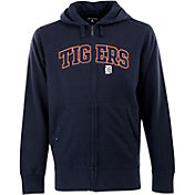 Antigua Men's Detroit Tigers Navy Split Applique Full-Zip Hoodie
