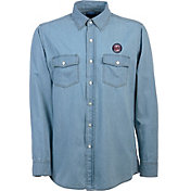 Antigua Men's Minnesota Twins Chambray Button-Up Long Sleeve Shirt