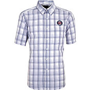 Antigua Men's Minnesota Twins Alumni Navy Plaid Button-Up Shirt