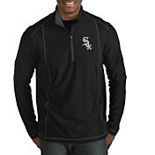 Antigua Men's Chicago White Sox Black Tempo Quarter-Zip Pullover