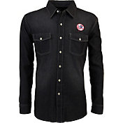 Antigua Men's New York Yankees Chambray Button-Up Black Long Sleeve Shirt