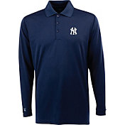 Antigua Men's New York Yankees Exceed Navy       Long Sleeve Performance Polo