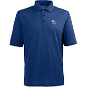 Antigua Men's Kansas Jayhawks Blue Xtra-Lite Polo