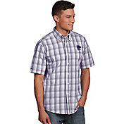 Antigua Men's Kansas State Wildcats Purple Plaid Short Sleeve Button Down Shirt