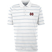 Antigua Men's Mississippi State Bulldogs Deluxe Performance White Polo