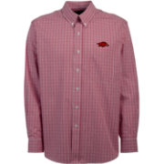 Antigua Men's Arkansas Razorbacks Cardinal Monarch Woven Long Sleeve Shirt