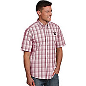 Antigua Men's South Carolina Gamecocks Garnet Plaid Short Sleeve Button Down Shirt