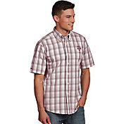 Antigua Men's Texas AM Aggies Maroon Plaid Short Sleeve Button Down Shirt