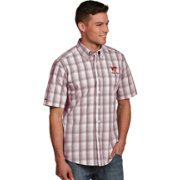 Antigua Men's Virginia Tech Hokies Maroon Plaid Short Sleeve Button Down Shirt