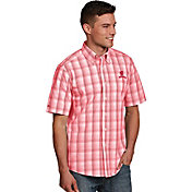 Antigua Men's Wisconsin Badgers Red Plaid Short Sleeve Button Down Shirt