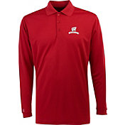 Antigua Men's Wisconsin Badgers Red Exceed Long Sleeve Performance Polo