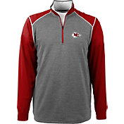 Antigua Men's Kansas City Chiefs Breakdown Grey Quarter-Zip Pullover
