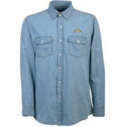 Antigua Men's Los Angeles Chargers Chambray Button-Up Shirt