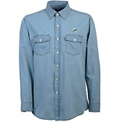 Antigua Men's Miami Dolphins Chambray Button-Up Shirt