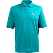 Antigua Men's Miami Dolphins Pique Xtra-Lite Aqua Polo