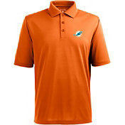 Antigua Men's Miami Dolphins Pique Xtra-Lite Orange Polo