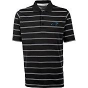 Antiqua Men's Carolina Panthers Black Deluxe Polo