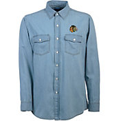 Antigua Men's Chicago Blackhawks Chambray Button-Up Shirt