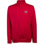 Antigua Men's Montreal Canadiens Delta Red Quarter-Zip Top