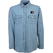 Antigua Men's Philadelphia Flyers Chambray Button-Up Shirt