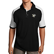 Antigua Men's Pittsburgh Penguins Black/White Century Polo