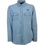 Antigua Men's New York Rangers Chambray Button-Up Shirt