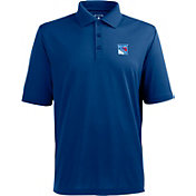 Antigua Men's New York Rangers Blue Xtra-Lite Pique Performance Polo