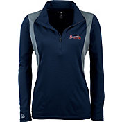 Antigua Women's Atlanta Braves Delta Navy Quarter-Zip Pullover