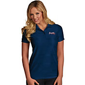 Antigua Women's Atlanta Braves Illusion Navy Striped Performance Polo