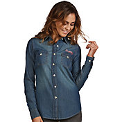 Antigua Women's Atlanta Braves Chambray Button-Up Chambray Long Sleeve Shirt