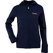 Antigua Women's Atlanta Braves Signature Navy Full-Zip Hoodie