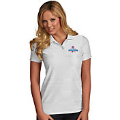 Antigua Women's 2016 World Series Champions Chicago Cubs Illusion White Striped Performance Polo