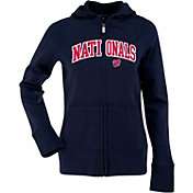 Antigua Women's Washington Nationals Navy Signature Full-Zip Fleece Hoodie