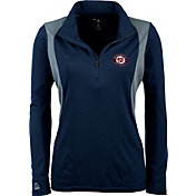 Antigua Women's Washington Nationals Delta Navy Quarter-Zip Pullover